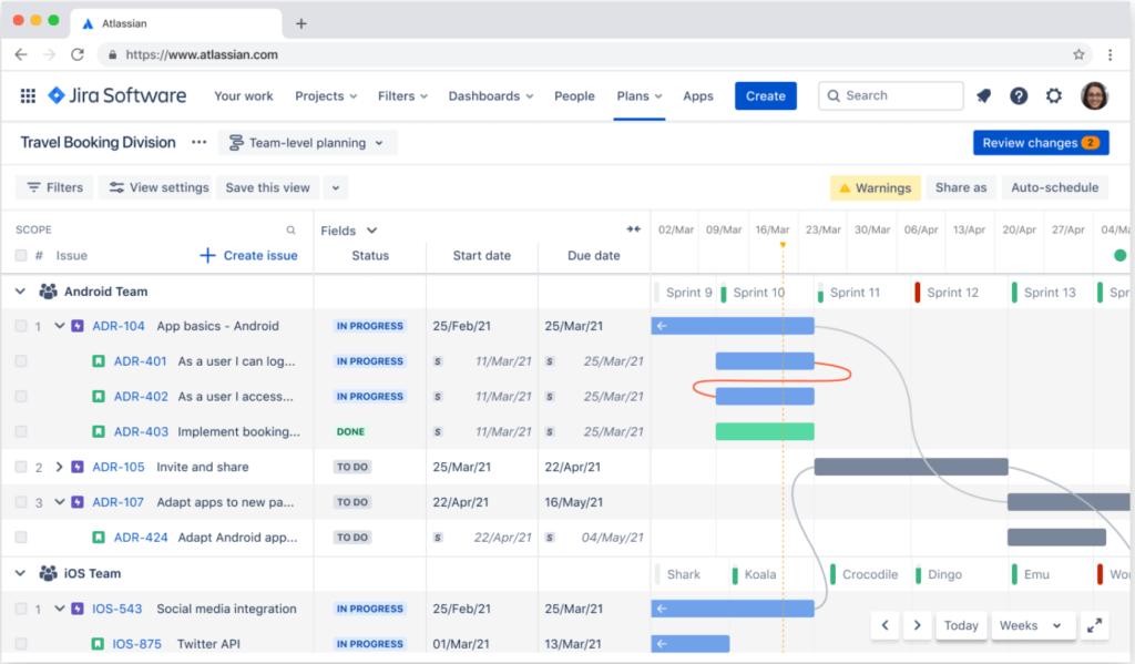 Advanced Roadmaps Screenshot